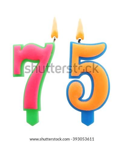 Burning Birthday Candles Isolated On White Background Number 75 393053611
