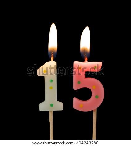 Burning Birthday Candles On Black Background Number 15 604243280
