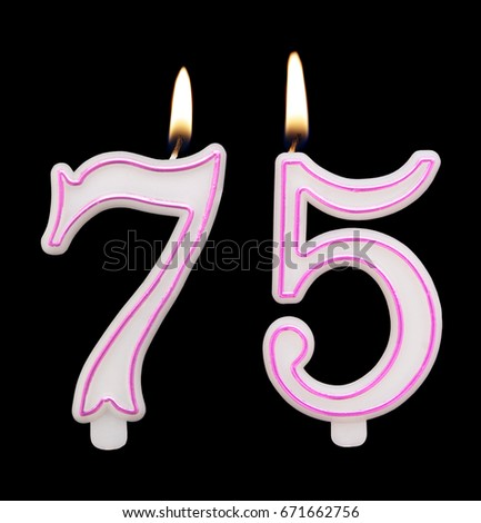Burning Birthday Candles On Black Background Number 75 671662756