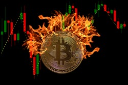 burning bitcoin with a candlestick chart and black background