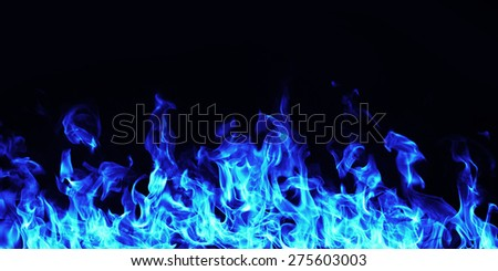 burning blue  fire flame on black background