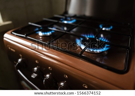 Burning blue flame of gas. Gas-burner stock photo