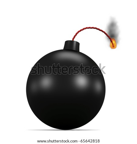 Burning bomb isolated on white. 3d image.