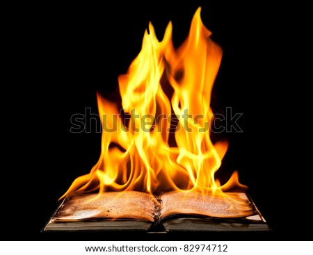 Burning book on fire flames