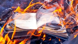 Burning books. An open book on the hearth