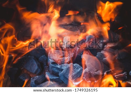 Burning bright flames of coal in hot brazier after arson for frying meat kebabs Stock photo ©