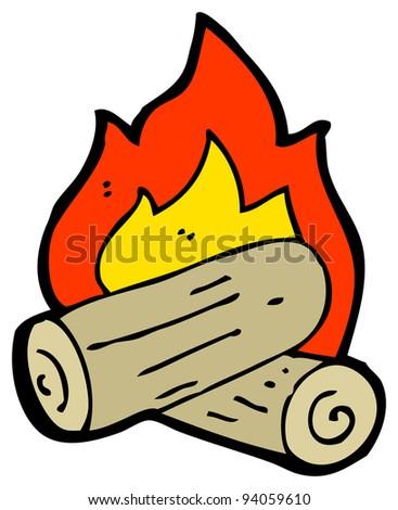 burning campfire cartoon (raster version)