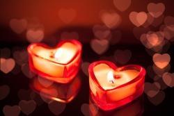 burning candle hearts