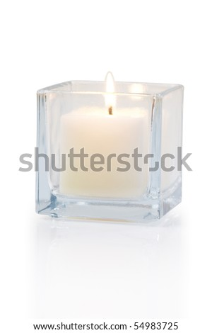 burning candle side view 20 degree, on white background