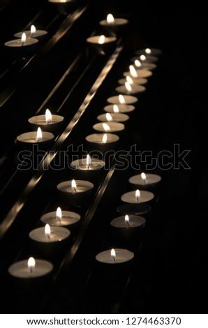 Burning candles, church, prayer, memory, candle, candlestick Zdjęcia stock ©