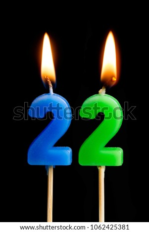 Burning Candles In The Form Of 22 Twenty Two Numbers Dates For Cake