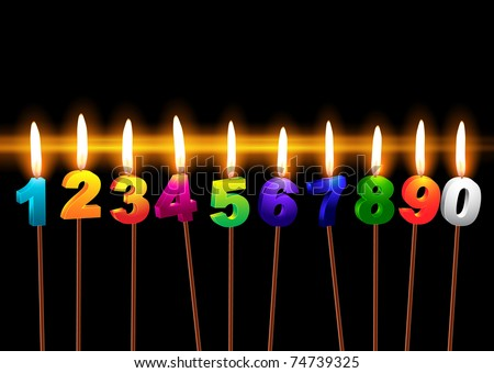 "Burning candles with numbers ""1, 2, 3, 4, 5, 6, 7, 8, 9, 0"""