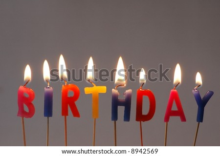 """Burning candles with the word """"Birthday"""""""