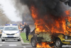 Burning car Fire suddenly started engulfing all the car