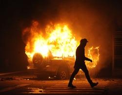 burning car, unrest, anti-government, crime