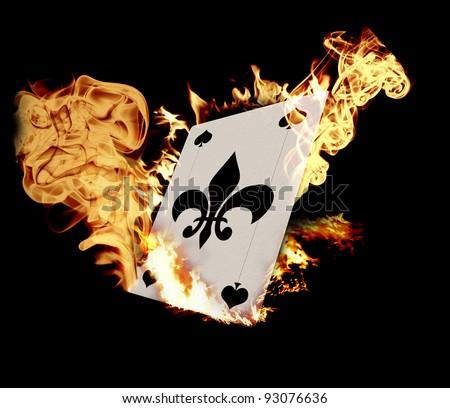 Burning Card illustration over black background