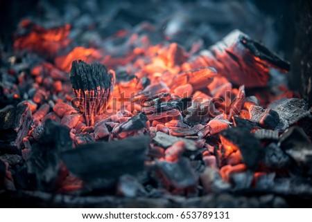 Burning coals at night. Decaying charcoal, barbeque season Сток-фото ©