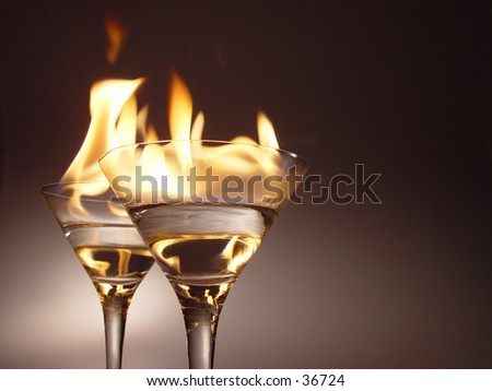 Burning cocktail glass