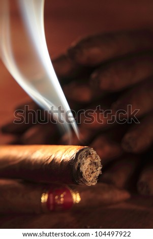 Burning  Cuban cigar