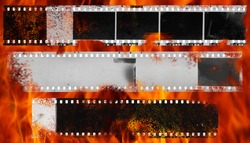 Burning dirty and damaged strip of celluloid films