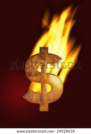 Burning dollar sign (gold) with flames and dark red background