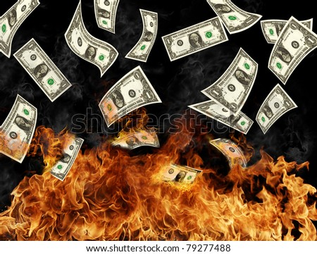 Burning dollars banknotes