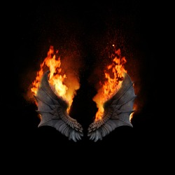 Burning dragon wings, dark atmospheric mood, can be used as fantasy background