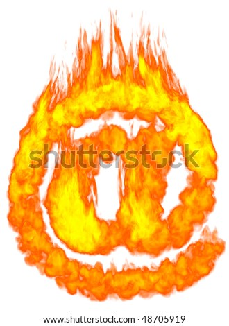 Burning e-mail symbol AT. Isolated on white background