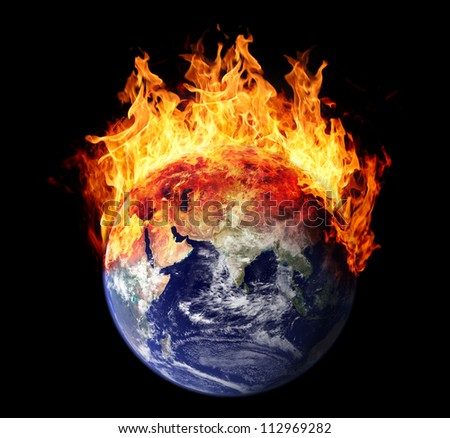 Burning earth globe east hemisphere (without gloving) (elements furnished by NASA)