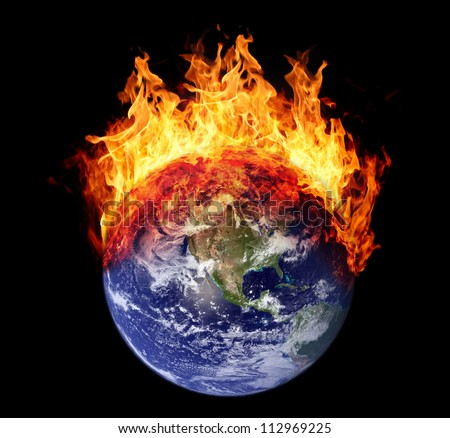 Burning earth globe west hemisphere (without gloving) (elements furnished by NASA)