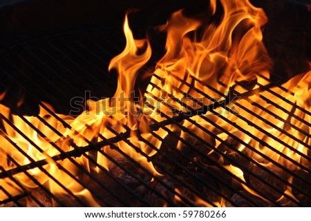 Burning fire or flame from a barbecue