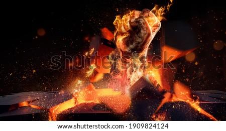 burning fist sleeps through stone   Foto stock ©