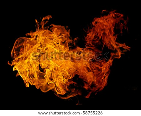 Burning flame or fire isolated on black background