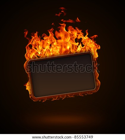 Burning frame - stock photo