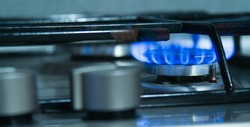 Burning gas burner, kitchen stove fire for cooking