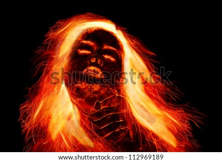 Burning girl with fiery hair