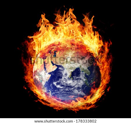Burning globe earth (east hemisphere) - version without glowing (elements furnished by NASA)