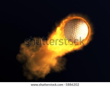 Burning golf ball - stock photo
