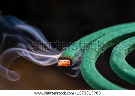 Burning green spiral mosquito repellent coil and red fire  with white smoke on dark background. Stockfoto ©