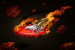Burning guitar flying in space among meteorites