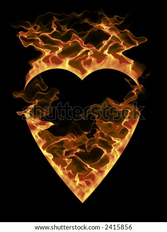 Burning heart on a black background. Part of heart series.