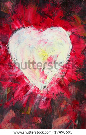 Burning heart painting on canvas. The art is created and painted by photographer.