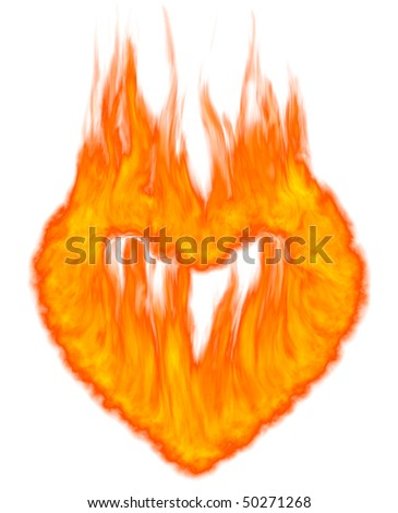 Burning heart shaped conceptual symbol isolated on white background