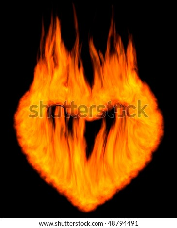 Burning heart shaped conceptual symbol isolated silhouette on black background. 3D illustration.