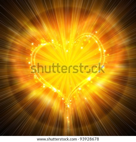 burning heart with sparkles on a dark background