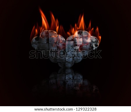 Burning Ice heart with fire, love concept