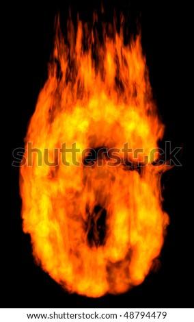 Burning 6 isolated on black