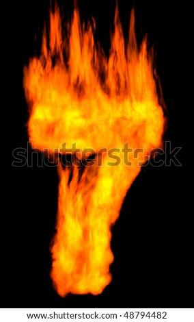 Burning 7 isolated on black