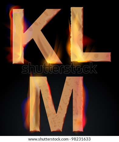 Burning KLM letters over dark,alphabet, illustration
