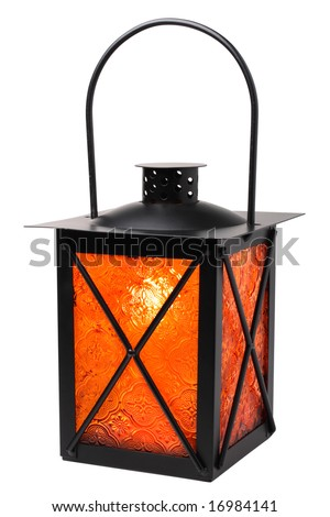Burning lantern isolated on white background